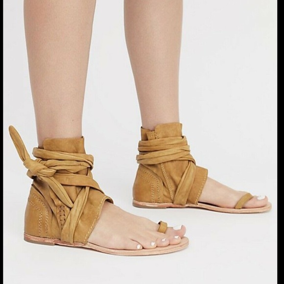 Free People Shoes - Free People gold Leather Wrap Tie Boot  Sandal 40